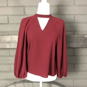 Leith Maroon Bishop Sleeve Choker Neck Blouse S